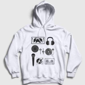 DJ Kapşonlu Sweatshirt beyaz