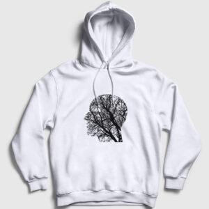 Doğayı Düşünen İnsan Kapşonlu Sweatshirt beyaz