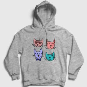 Dört Kedili Kapşonlu Sweatshirt gri kırçıllı