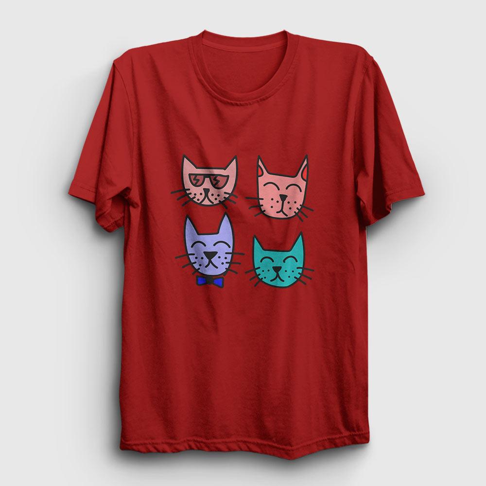 dört kedili tişört kırmızı