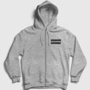 Double Line Fermuarlı Kapşonlu Sweatshirt gri kırçıllı