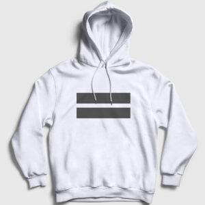 Double Line Kapşonlu Sweatshirt beyaz
