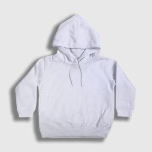 düz beyaz çocuk kapşonlu sweatshirt