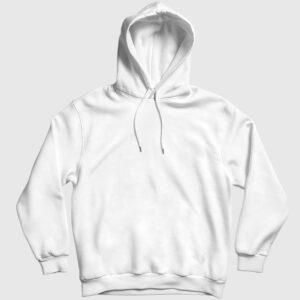Düz Beyaz Kapşonlu Sweatshirt beyaz