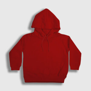 düz kırmızı çocuk kapşonlu sweatshirt