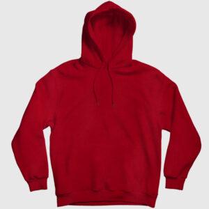 Düz Kırmızı Kapşonlu Sweatshirt kırmızı