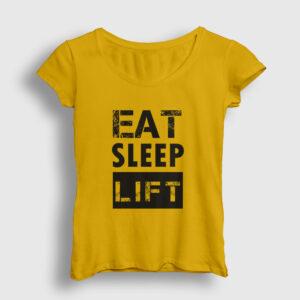 Eat Sleep Lift Kadın Tişört sarı