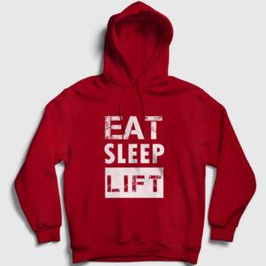 Eat Sleep Lift Kapşonlu Sweatshirt kırmızı