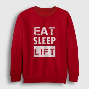 Eat Sleep Lift Sweatshirt kırmızı