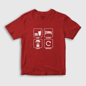 Eat Sleep Loot Repeat Çocuk Tişört kırmızı