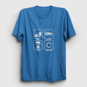 Eat Sleep Loot Repeat Tişört açık mavi