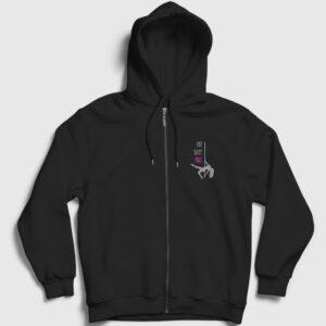 Eat Sleep Pole Fermuarlı Kapşonlu Sweatshirt siyah