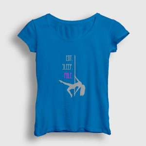 Eat Sleep Pole Kadın Tişört açık mavi