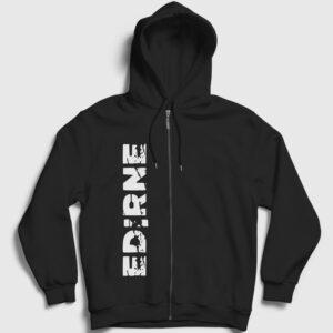 Edirne Fermuarlı Kapşonlu Sweatshirt siyah