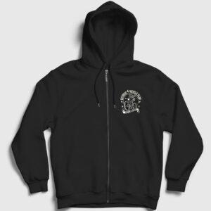 Ekstrem Bisiklet Kulübü Fermuarlı Kapşonlu Sweatshirt siyah