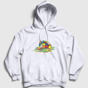 Erimiş Rubik Küp Kapşonlu Sweatshirt beyaz