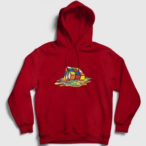 Erimiş Rubik Küp Kapşonlu Sweatshirt kırmızı
