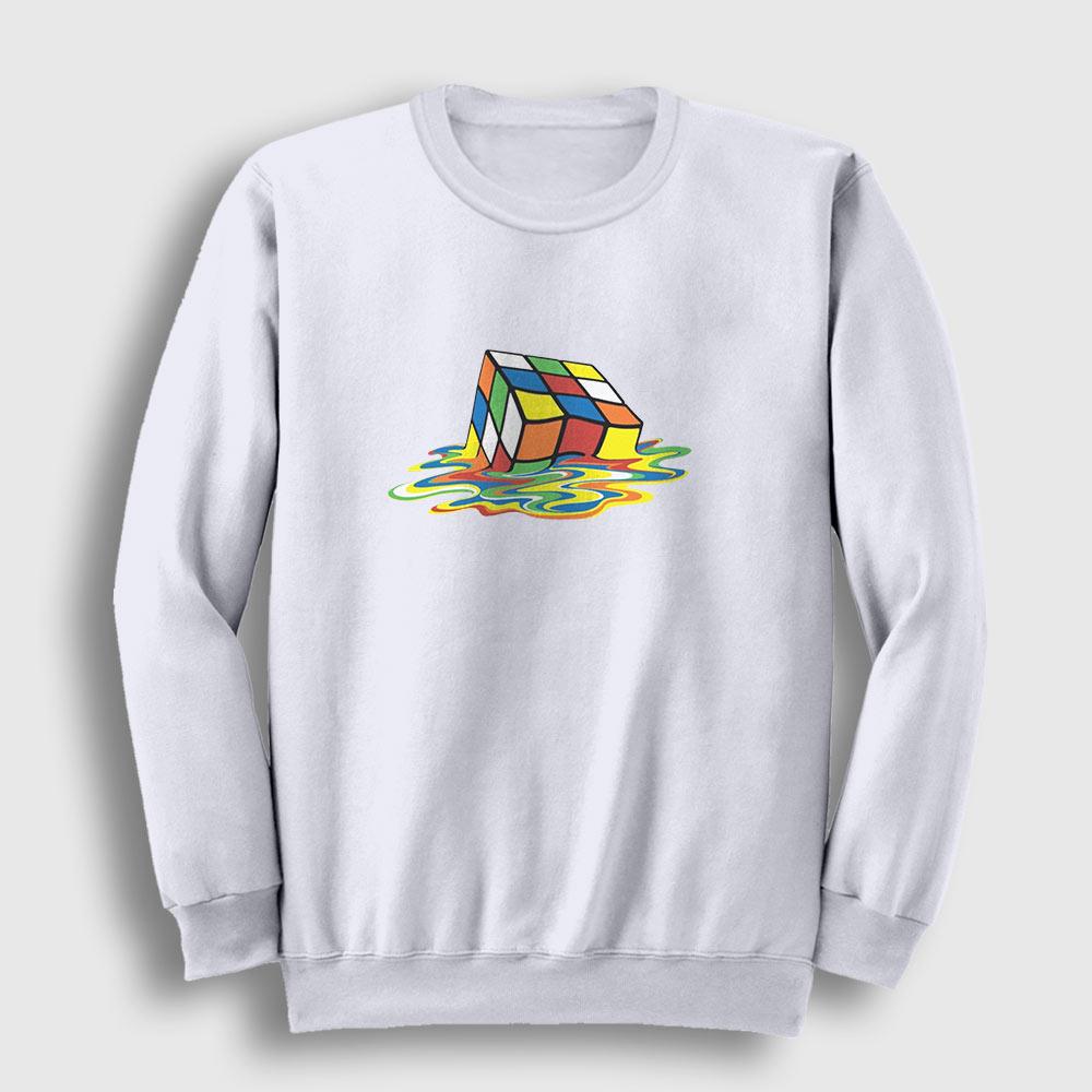 Erimiş Rubik Küp Sweatshirt beyaz