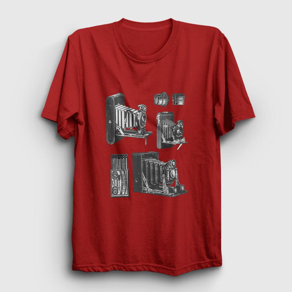 eski fotoğraf makinesi tişört kırmızı