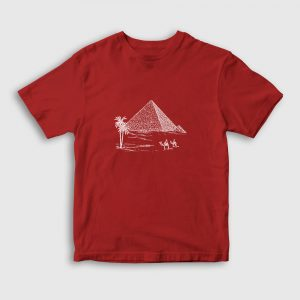 Eskiz Piramitler Çocuk Tişört kırmızı