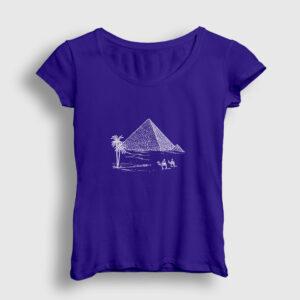 Eskiz Piramitler Kadın Tişört lacivert