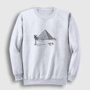 Eskiz Piramitler Sweatshirt beyaz