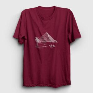 Eskiz Piramitler Tişört bordo