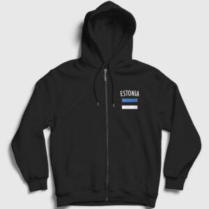 Estonya Fermuarlı Kapşonlu Sweatshirt siyah