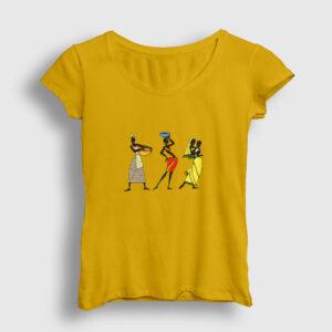 Etnik Afrikalı Kadınlar Kadın Tişört sarı
