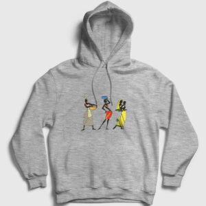 Etnik Afrikalı Kadınlar Kapşonlu Sweatshirt gri kırçıllı
