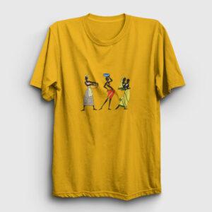 Etnik Afrikalı Kadınlar Tişört sarı