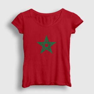 Fas Bayrağı Kadın Tişört kırmızı