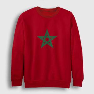Fas Bayrağı Sweatshirt kırmızı