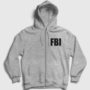 FBI Fermuarlı Kapşonlu Sweatshirt gri kırçıllı
