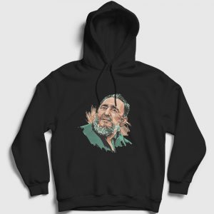 Fidel Castro Çizim Kapşonlu Sweatshirt siyah