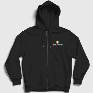 Fildişi Sahili Fermuarlı Kapşonlu Sweatshirt siyah