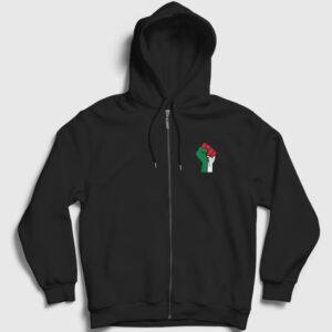 Filistin Fermuarlı Kapşonlu Sweatshirt siyah