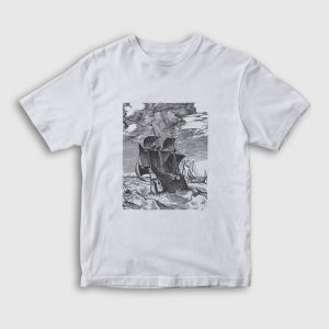 Fırtınada Gemi Çocuk Tişört beyaz