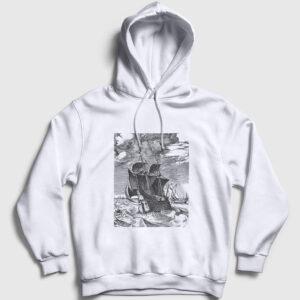 Fırtınada Gemi Kapşonlu Sweatshirt beyaz