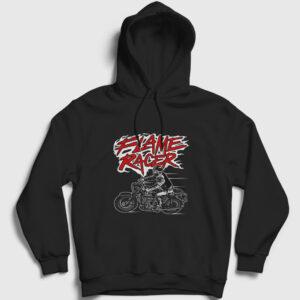 Flame Racer Kapşonlu Sweatshirt siyah