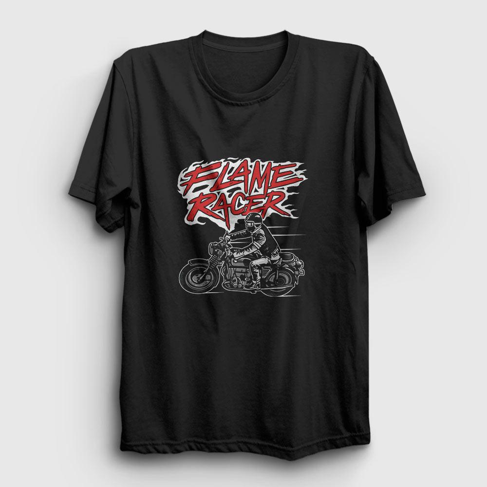 flame racer tişört siyah