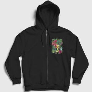 Flower Beauty Fermuarlı Kapşonlu Sweatshirt siyah