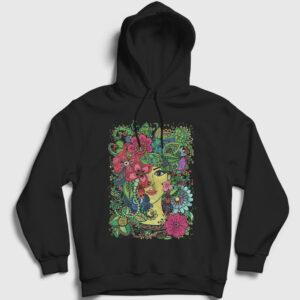 Flower Beauty Kapşonlu Sweatshirt siyah
