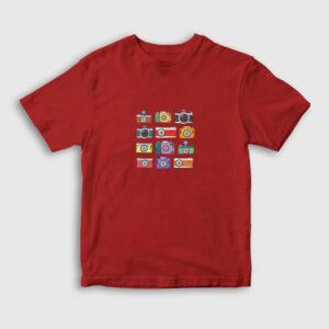 Fotoğraf Makineleri Çocuk Tişört kırmızı
