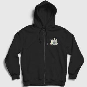 Fotoğraf Makinesi Fermuarlı Kapşonlu Sweatshirt siyah