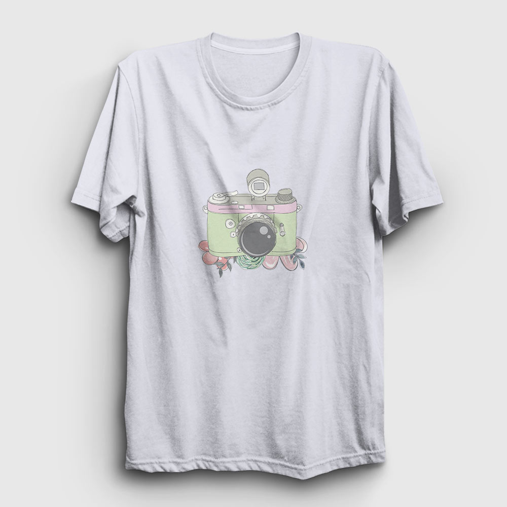 fotoğraf makinesi tişört beyaz