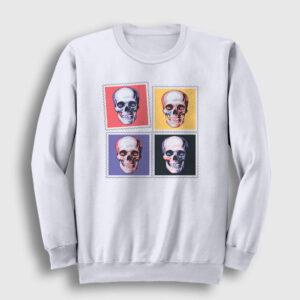 Four Skulls Sweatshirt beyaz