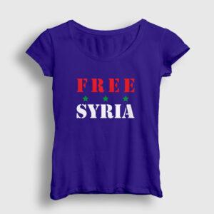 Free Syria Kadın Tişört lacivert