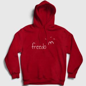 Freedom Kuşlar Kapşonlu Sweatshirt kırmızı
