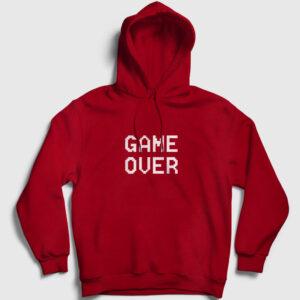 Game Over Kapşonlu Sweatshirt kırmızı
